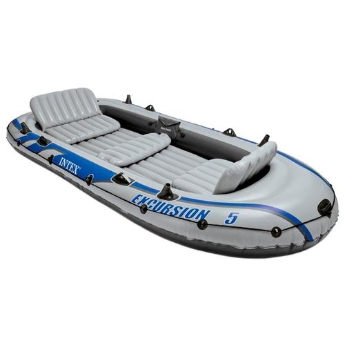 Лодка надувная 5-ти местная с алюминиевыми веслами и насосом Intex Excursion 5 Set 366х168х43 см (68325)